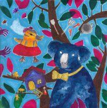 Koala And Baby Mallard - Doodlewash by Failasufa An - gouache watercolor painting