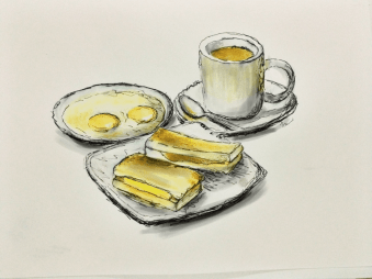 Doodlewash by Siew Tin Traditional Breakfast Singapore watercolor sketch food illustrator