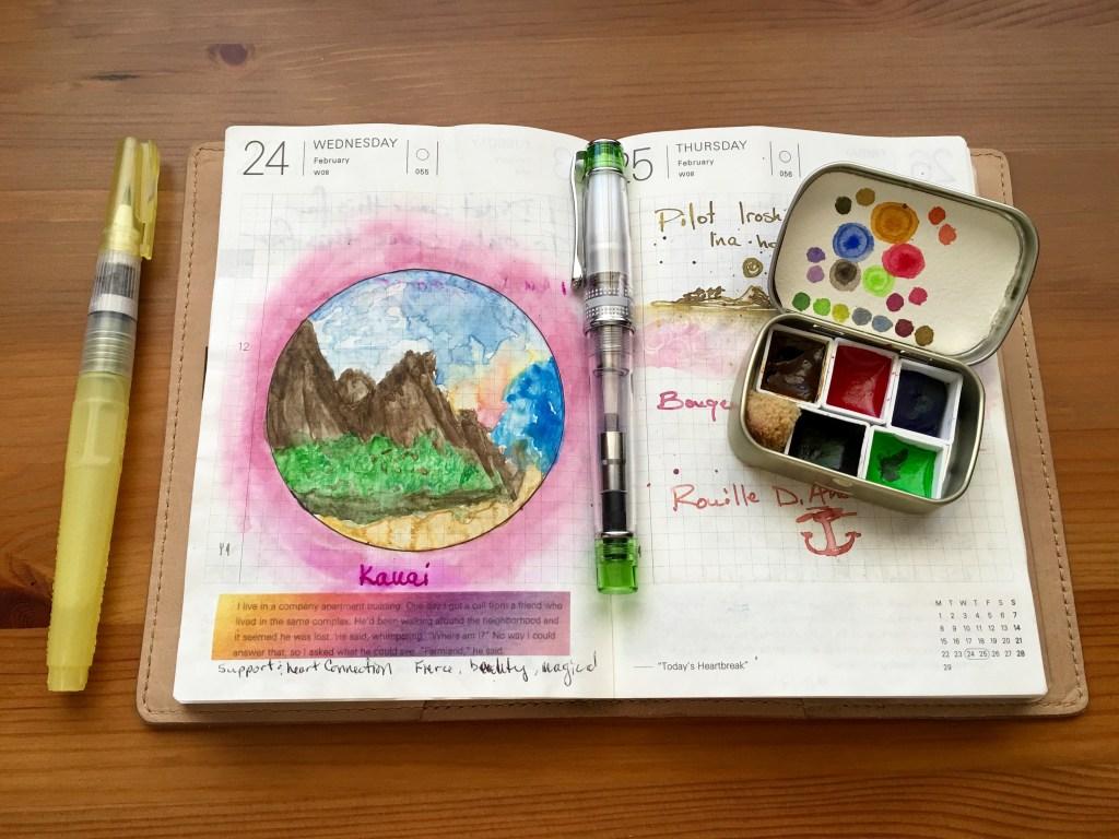 Hobonichi Techo, Pilot Prera fountian pen, Altoids watercolor palette tin, ninji water brush