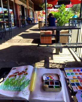 Urban sketching with hobonicho Techo, Ninji water brush, Altoids tin and Schmincke travel palette