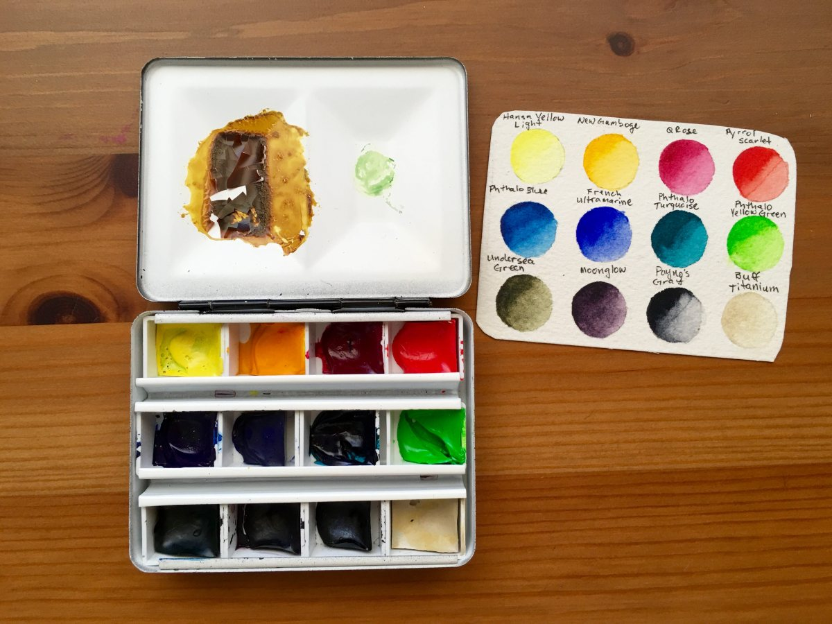 Inside view of Whiskey Painters travel palette with watercolor swatch