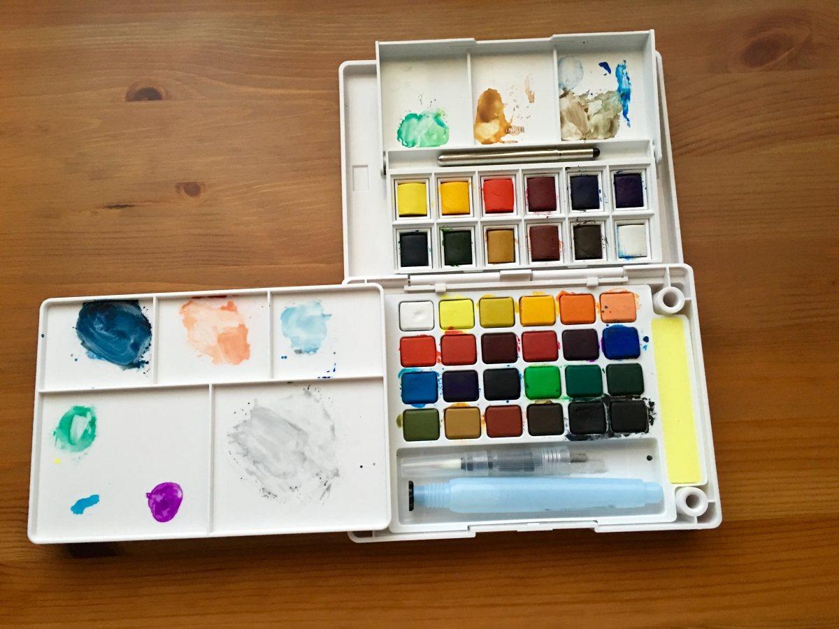 Windsor & Newton Pocket Box set inside of a Koi Field Box, watercolors