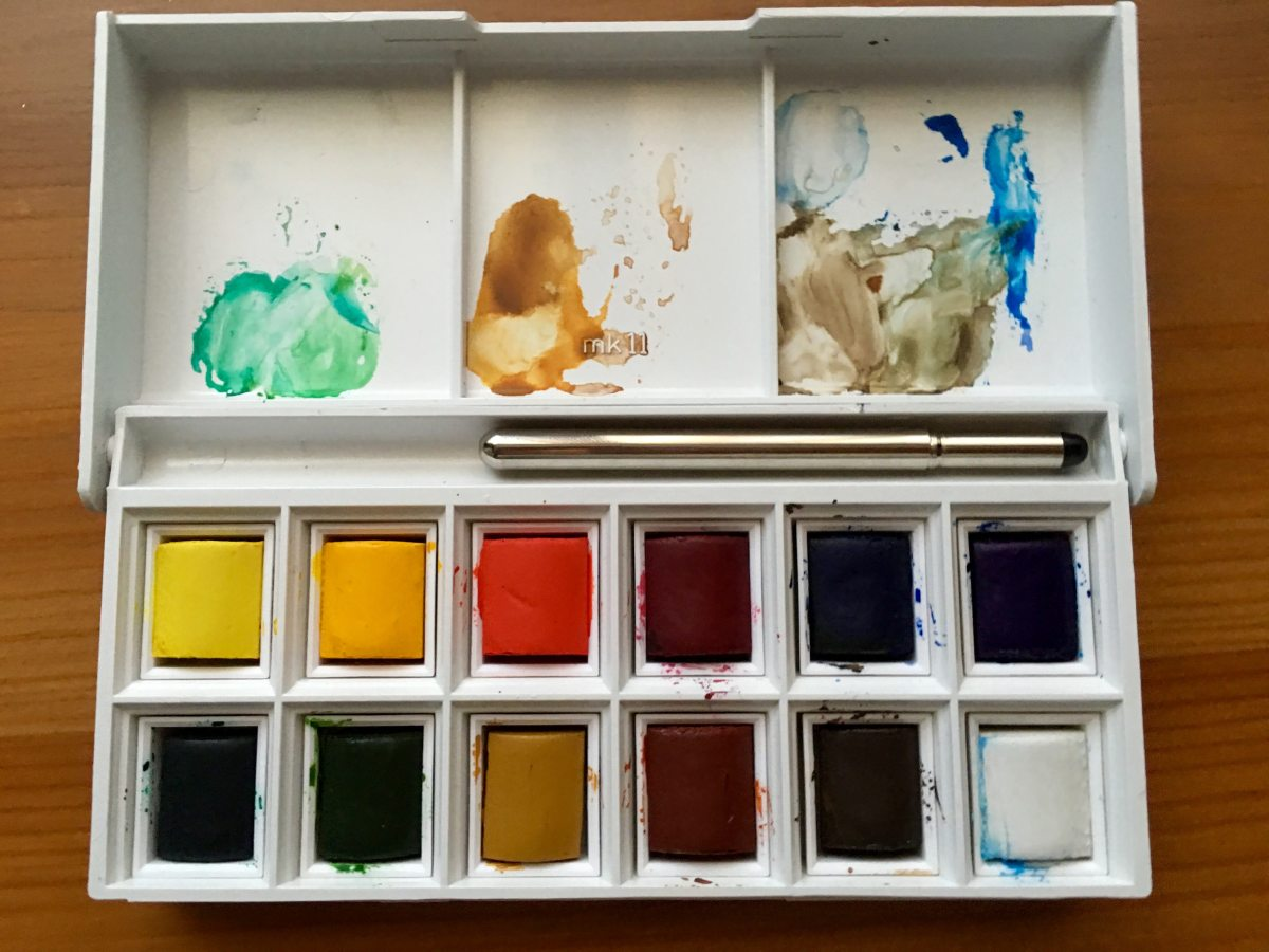 Open Windsor and Newton Cotman Pocket Box set of watercolors