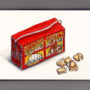 National Animal Crackers Day - Doodlewash and watercolor of Barnum's Animal Crackers box in red