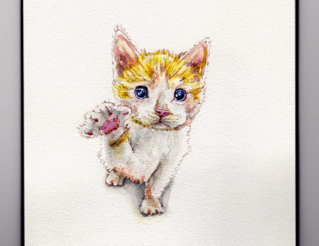 National High Five Day - Doodlewash and watercolor sketch of tabby kitten cat giving a high five