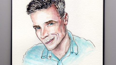 National DNA Day - Doodlewash and watercolor of Charlie O'Shields