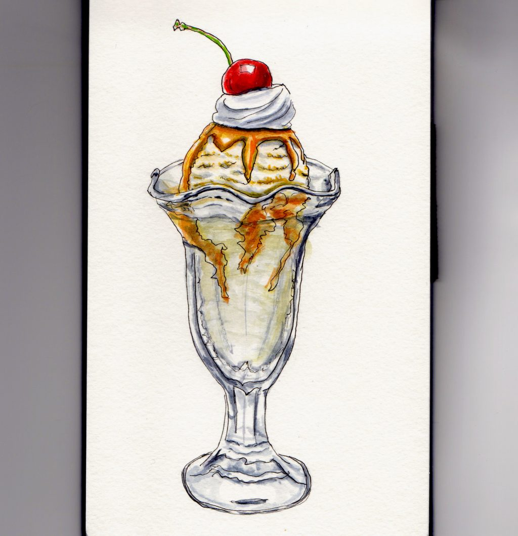 National Caramel Day - Doodlewash watercolor painting and sketch of ice cream sundae with caramel topping and cherry