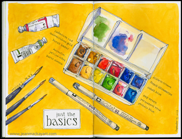 Doodlewashes by Jean Mackay - watercolor sketch of painting supplies, paint, pens, and travel palette
