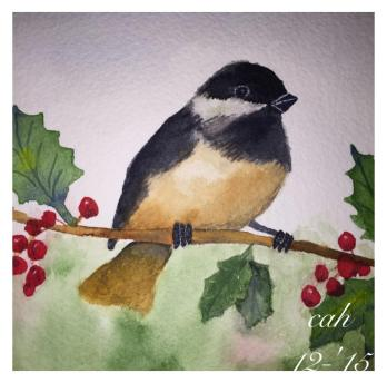 Doodlewash by Carol Hartmann - watercolor painting of Chickadee on Holiday Holly bush