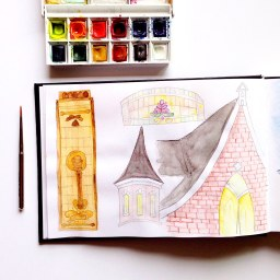 Doodlewash - watercolor of church and stained glass by Micah Bremner