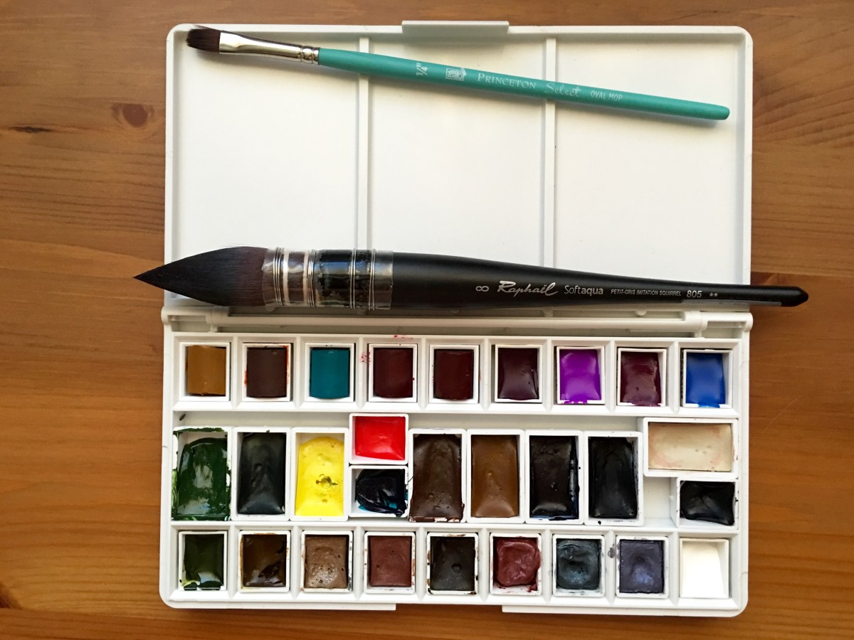 Grace Art Converted Palette filled with, Winsor & Newton, Holbein, Daniel Smith, Qor, M. Graham watercolors