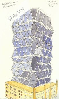 Doodlewash by Nadya Levitova - watercolor sketch of modern building with glass, Hearst Tower in Manhattan, New York City