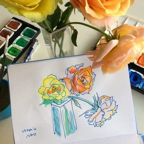 Doodlewash by Naoko Ebihara - watercolor sketch and painting of roses