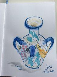 Doodlewash by Naoko Ebihara - watercolor sketch and painting of ceramic pot vase