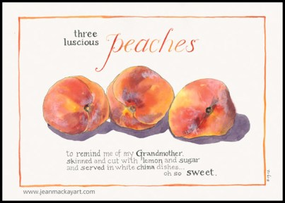 Doodlewashes by Jean Mackay - watercolor sketches of three orange peaches