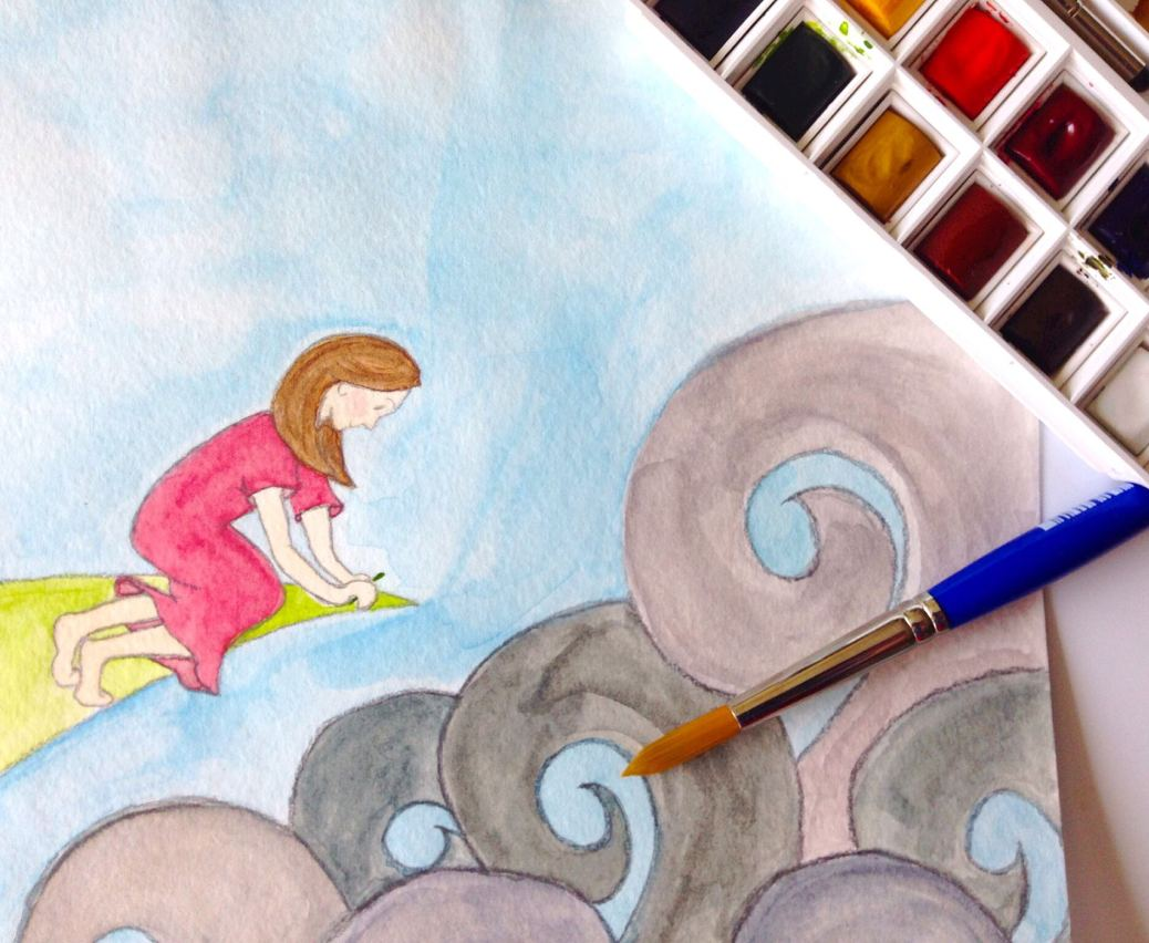 Doodlewash - watercolor of girl with blue sky by Micah Bremner
