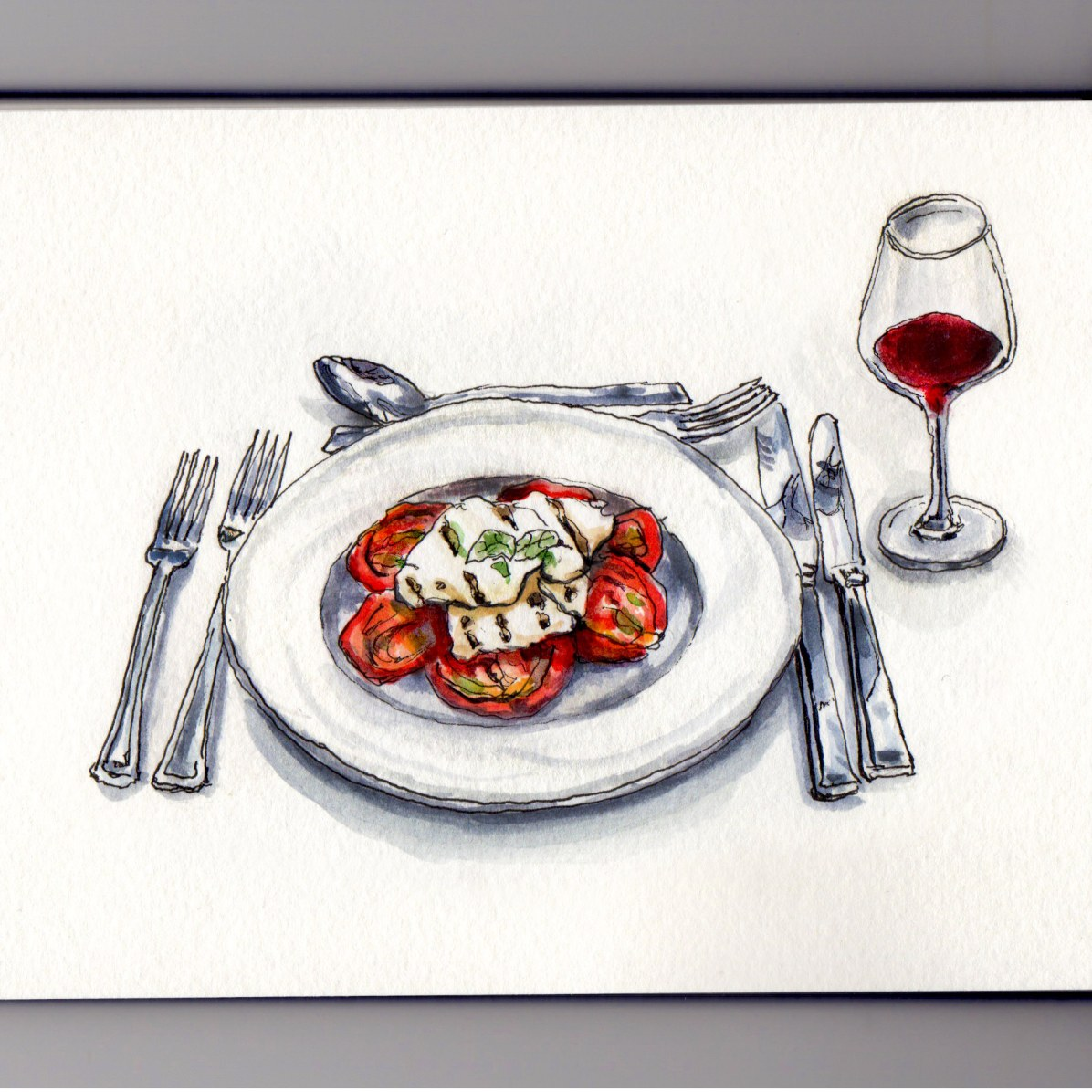 Doodlewash of dinner table setting with red wine and Caprese Salad