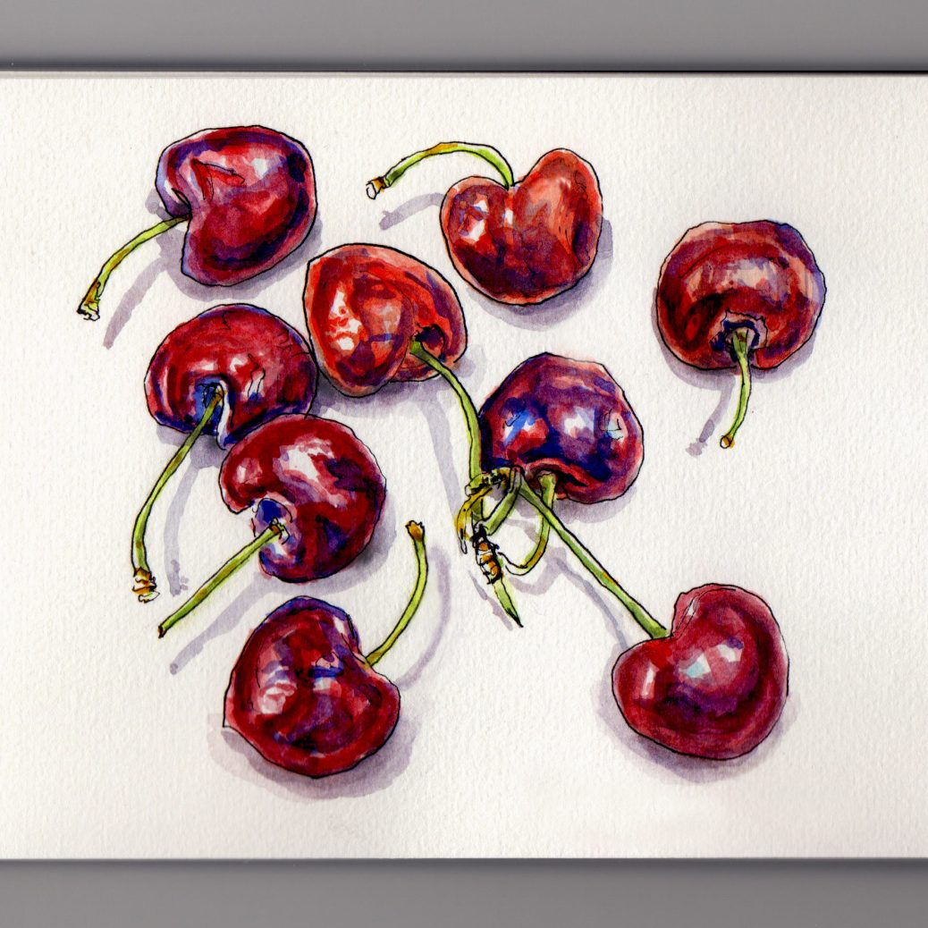 Doodlewash and watercolor sketch of loose red cherries with stems laying on a table