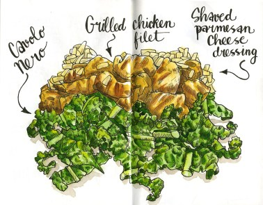 Doodlewash and watercolor sketch by Koosje Koene Sketchbook Skool of Grilled Chicken Filet with shaved parmesan cheese dressing salad