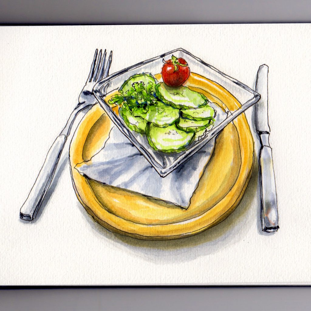 A Simple Cucumber Salad with tomato on yellow plate doodlewash and watercolor sketch