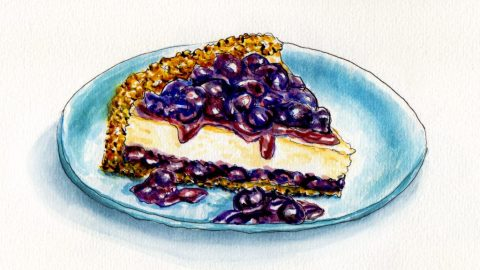 National Blueberry Cheesecake Day Doodlewash and watercolor sketch on blue plate