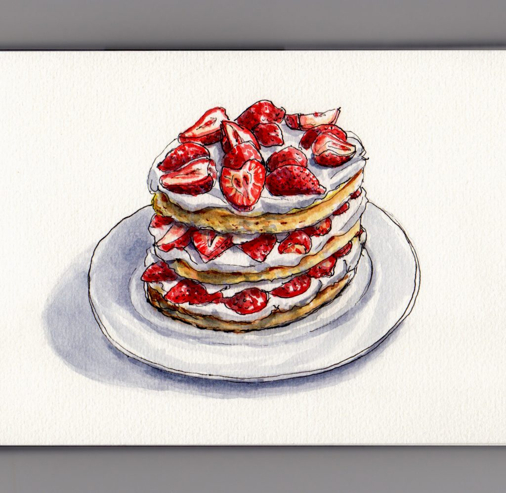 Strawberry Shortcake the Official Dessert of Summer - Doodlewash and watercolor of strawberries and cream on a plate