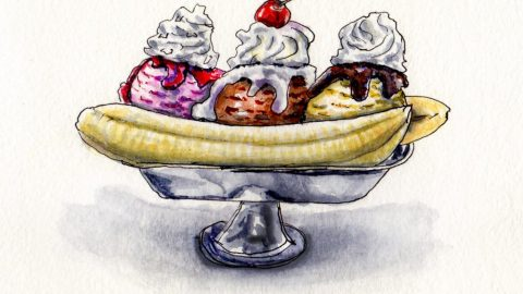 Banana Split - Two Spoons or One? Doodlewash and watercolor sketch of banana sundae and ice cream chocolate strawberry vanilla with whipped cream