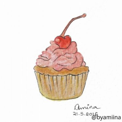 Amina Farag - Doodlewash of cupcake with pink frosting and cherry on top