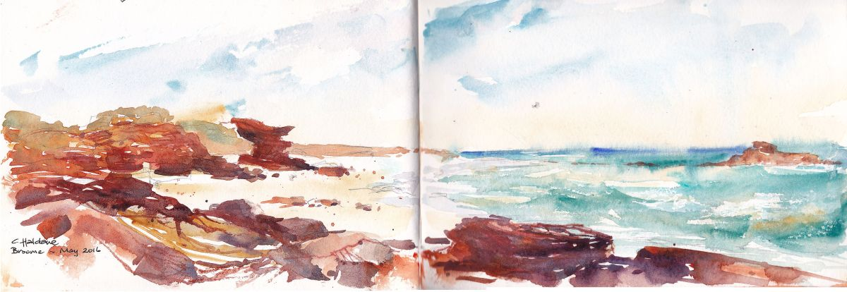 Doodlewash and watercolor urban sketch by Chris Haldane of Broome coastal view beach and waves