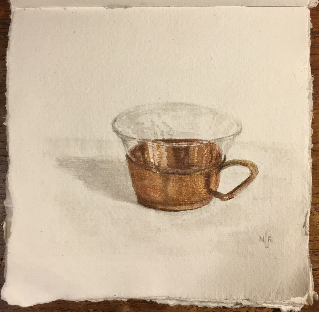 copper Cup painting by Natalie Lee- Khadi 150 rough texture wc paper Faber Castell Graphite Aquarelle pencil HB Daniel Smith WC in Van Dyke brown Iridescent Moonstone Iridescent Gold Iridescent Copper Iridescent Russet