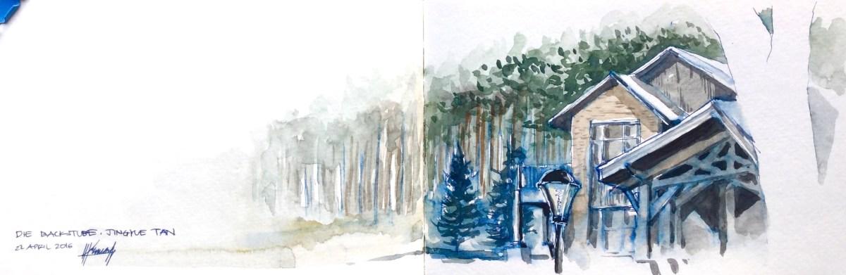Doodlewash and watercolor sketch by Benny Kharismana of Jingyue Tan House urban sketch