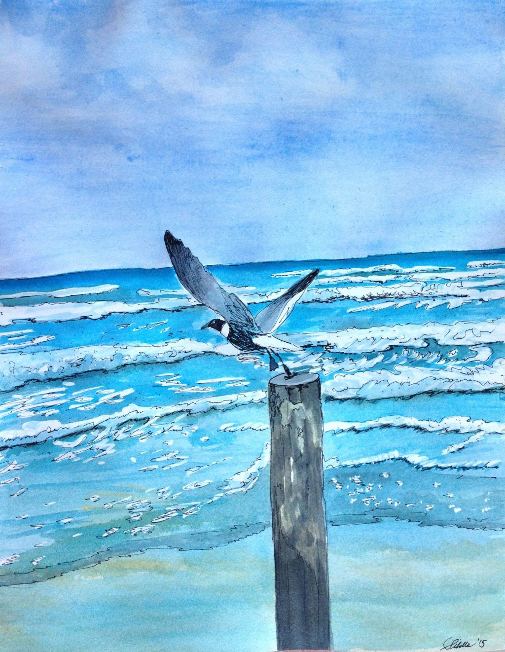Doodlewash and watercolor painting by Sibella of bird flying out to the ocean from a post on the beach