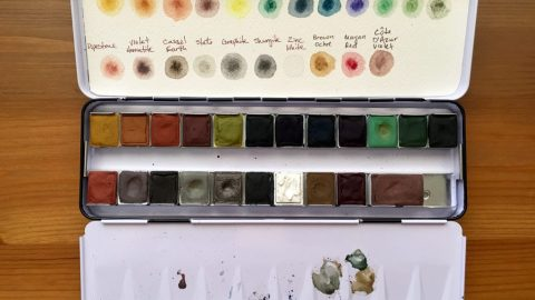 Palette and watercolor swatch of Greenleaf & Blueberry watercolors
