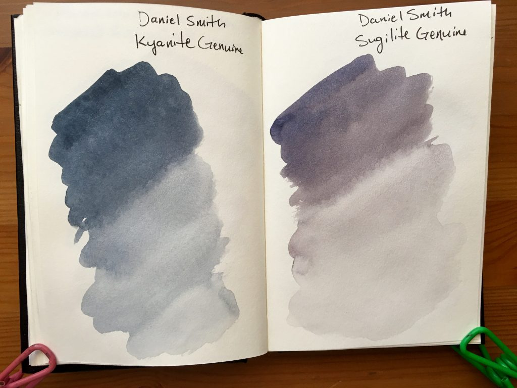 Daniel Smith PrimaTek watercolors swatches in a stillmand and birn gamma series journal Kyanite Genuine and Sugilite Genuine