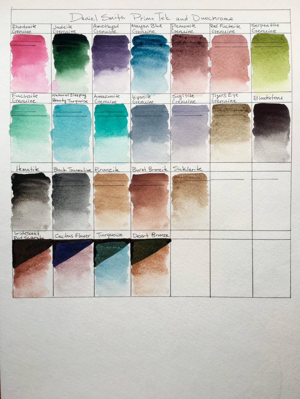 Daniel Smith PrimaTek and Luminescent watercolors swatches on Strathmore 400 series watercolor paper