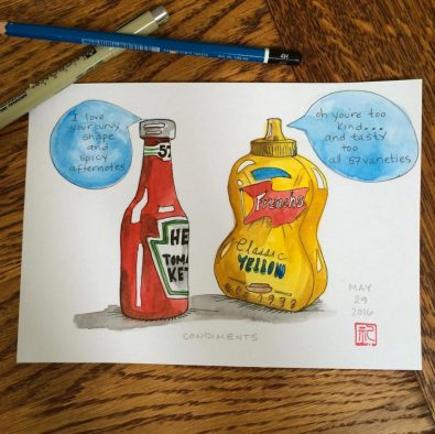 Rebecca Cary Anderson Doodlewash and watercolor of Heinz Ketchup and French's Mustard talking to each other cartoon