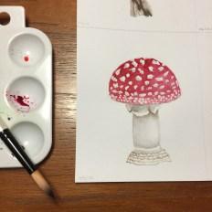 Red and white mushroom cap watercolor painting - Doodlewash by Jen Fabish