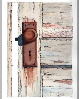 Rusted Doorknob by Jay Vance - Doodlewash and watercolor sketch of old door with a rusted knob