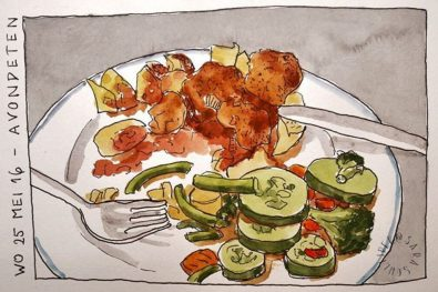Doodlewash and watercolor sketch of dinner by Sara Schlijper