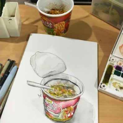 Doodlewash and watercolor urban sketch of food by Siew Tin