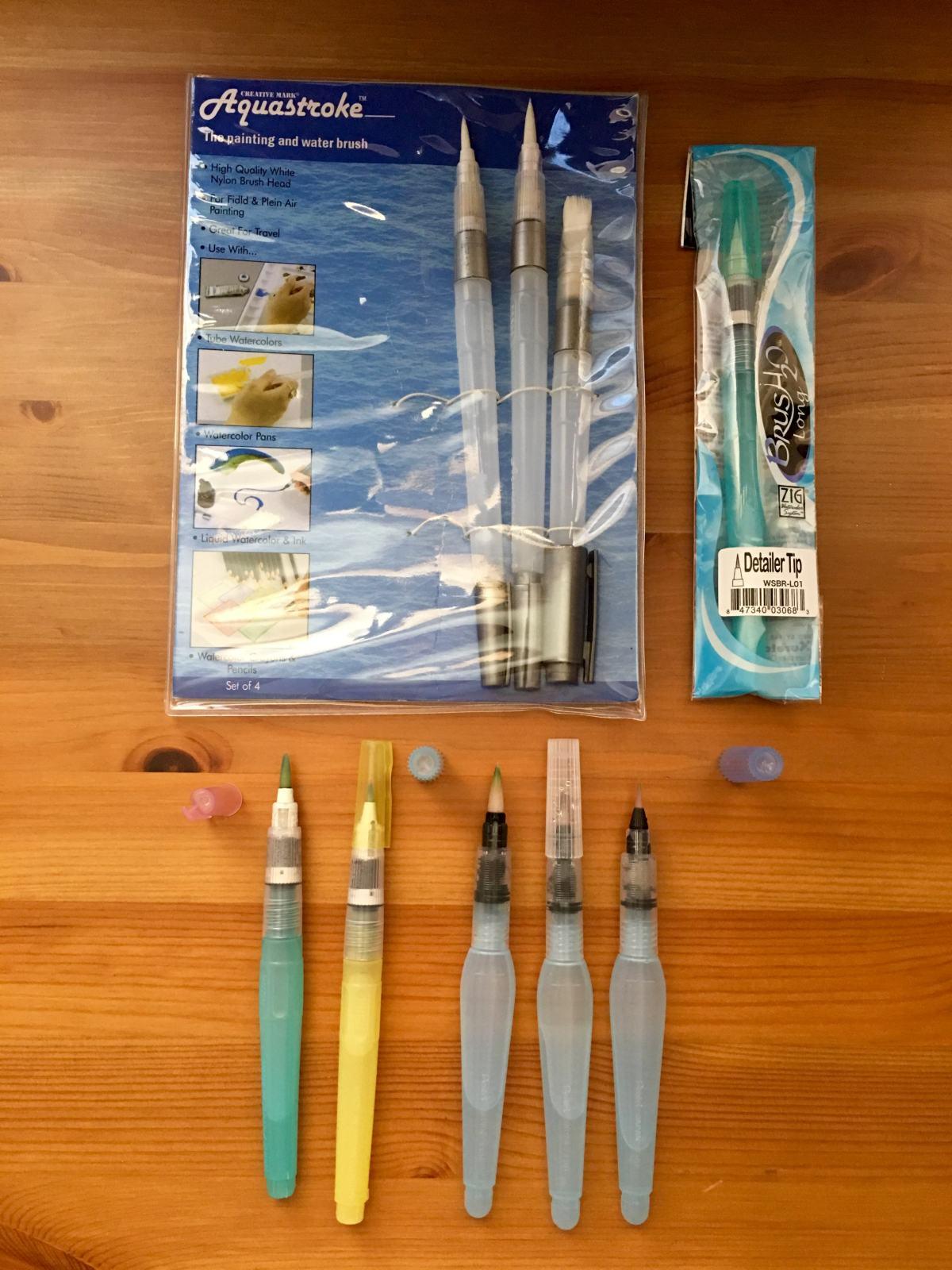 niji, pentel aquash and aquastroke waterbrushes