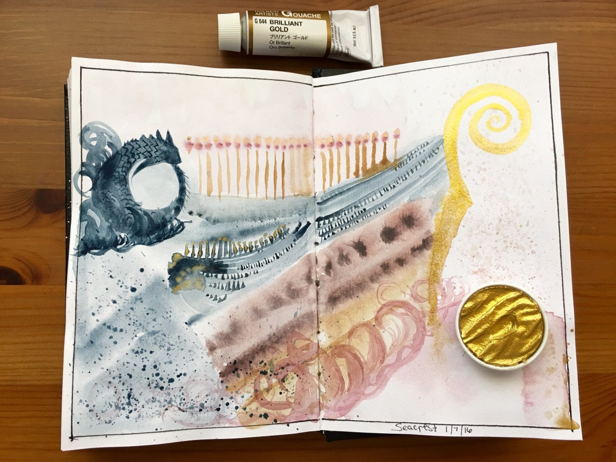 Finetec and Holbein brilliant gold gouache boat painting in a Stillman and Birn alpha series journal