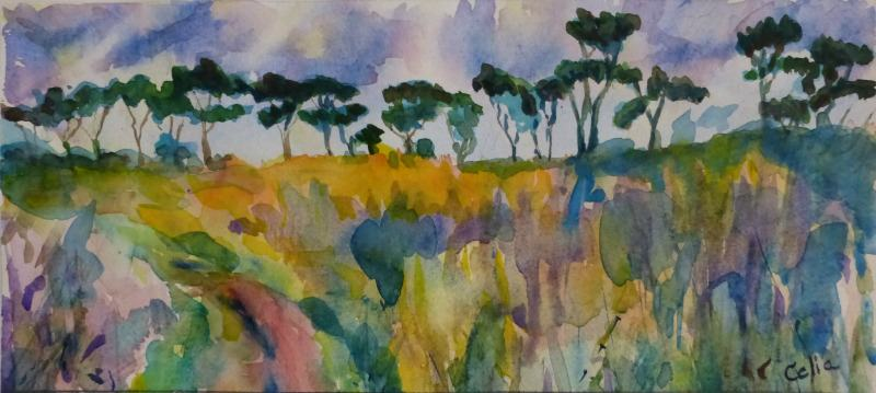 Doodlewash and watercolor sketch by Celia Blanco of field with trees