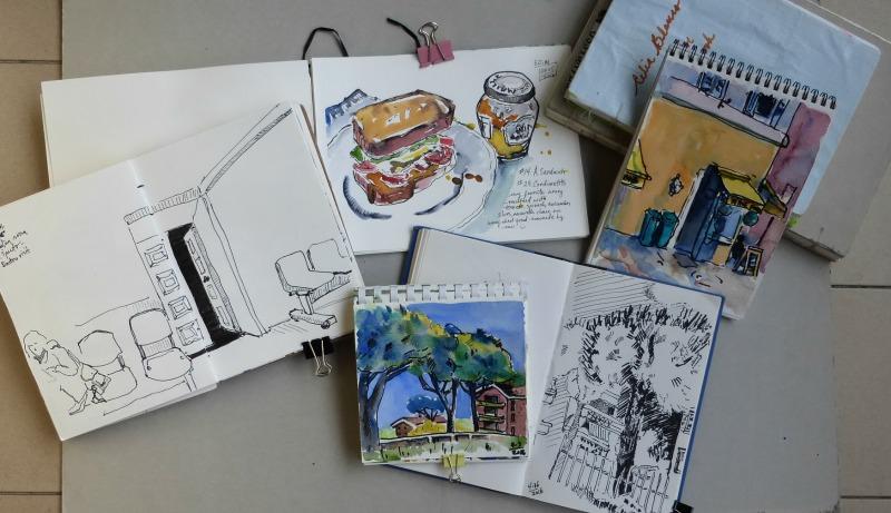 Doodlewash and watercolor sketch by Celia Blanco of sketchbooks