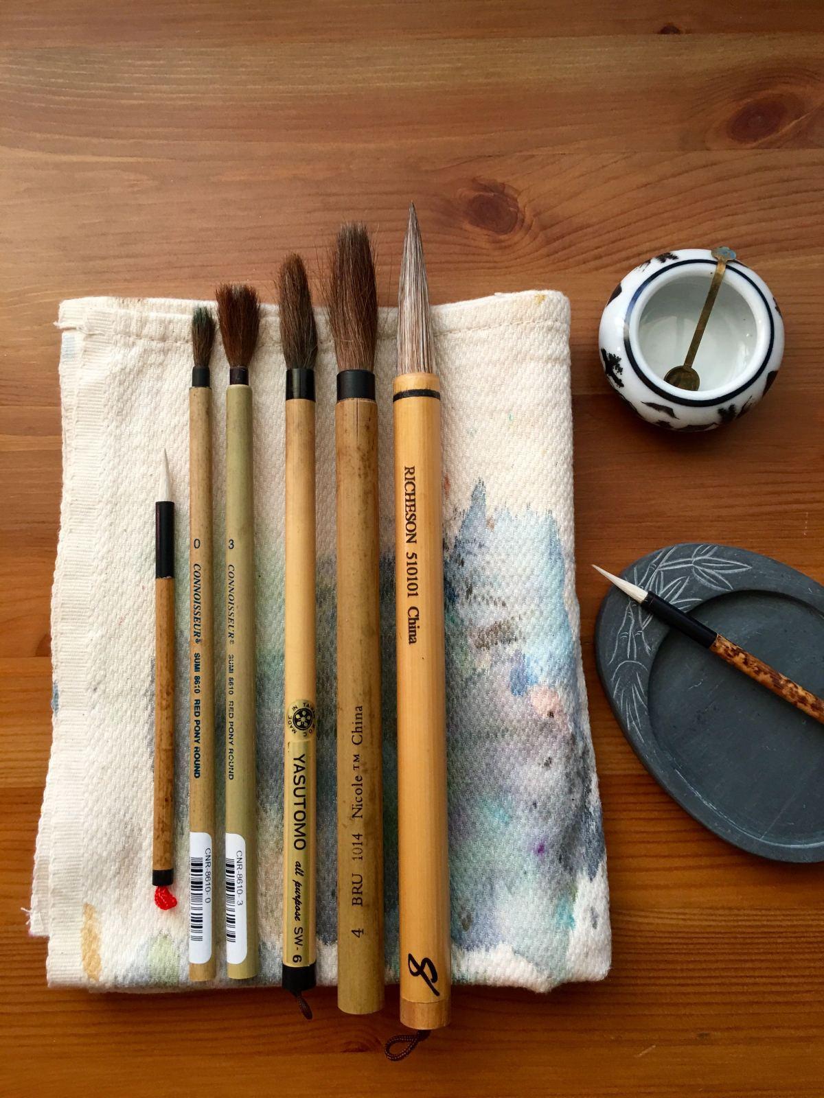 oriental brushes, calligraphy, Chinese brush painting, bamboo brush