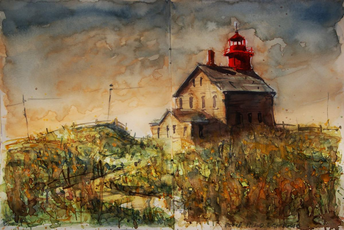 Doodlewash Watercolor Painting by Carsten Wieland - Block Island Lighthouse