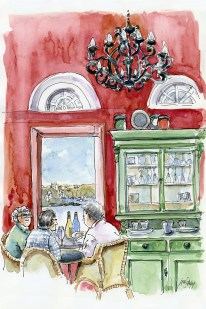 Doodlewash and watercolor painting by Judy Salleh of Ladies Dining under chandelier