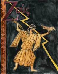 Doodlewash and watercolor sketch of Zeus by M. L. Kappa