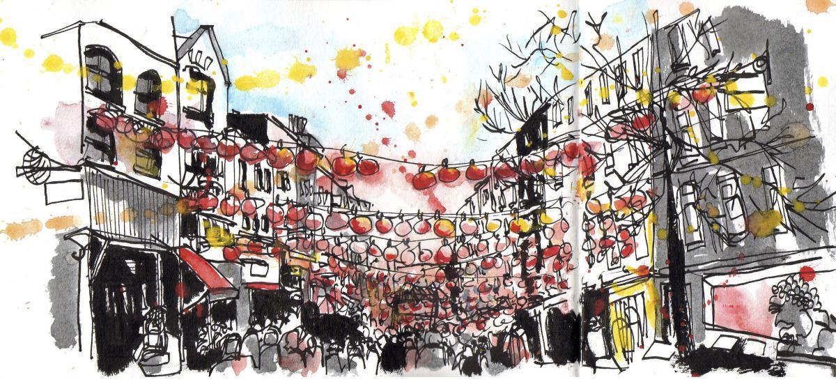 Doodlewash and Urban Sketch by Sanjukta Sen of Chinatown London LQP