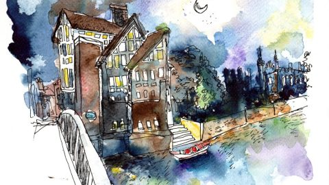 Doodlewash and Urban Sketch by Sanjukta Sen of house next to water with bridge